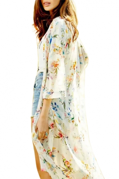 Half Sleeve Floral Printed Collarless Tunic Kimono