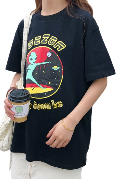 Sleeve Letter Round Printed Neck Tee Short Alien 7qPfg