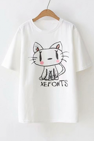 Printed Round Sleeve Letter Cat Short Tee Loose Neck 47AWFn