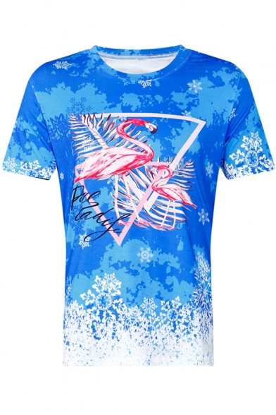 Neck Round Tee Sleeve Snowflake Letter Printed Short Flamingo x7w6nqRp