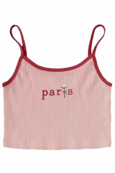 PARIS Letter Floral Embroidered Contrast Trim Spaghetti Straps Sleeveless Crop Cami
