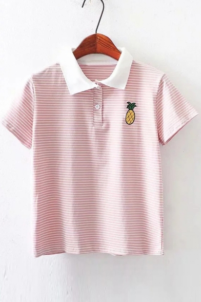 Pineapple Tee Striped Sleeve Embroidered Short Collar Lapel YxwqYfr4