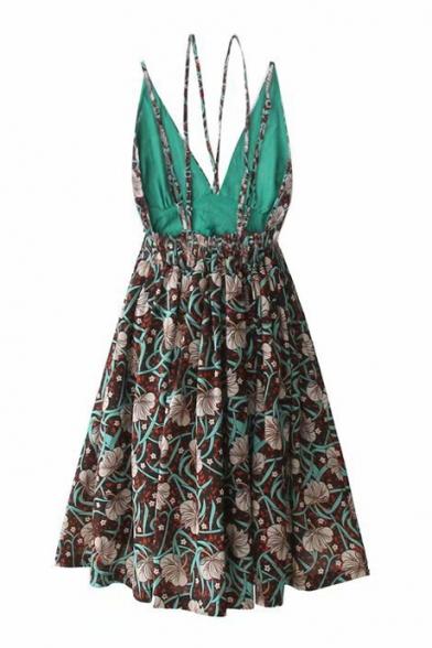 Retro Floral Printed Open Back Sleeveless Midi Cami Dress