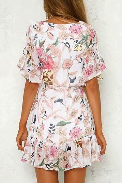 A Neck Dress Half Line Round Floral Sleeve Printed Mini FHnqwOY