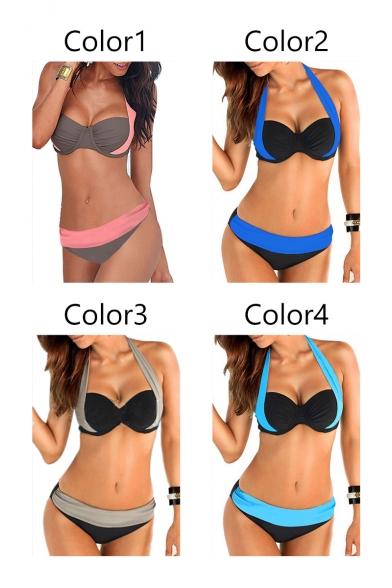 Sexy Holiday Halter Color Block Bikini