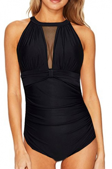 Sheer One Mesh Sleeveless Round Swimwear Insert Neck Piece rdrwPqBX