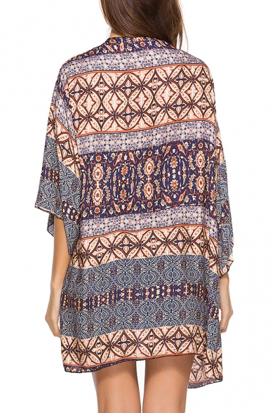 Tribal Printed Collarless 3/4 Length Sleeve Tunic Kimono
