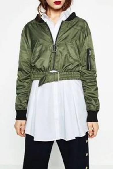 Unique Zipper Back Stand Up Collar Long Sleeve Plain Zip Up Crop Baseball Jacket