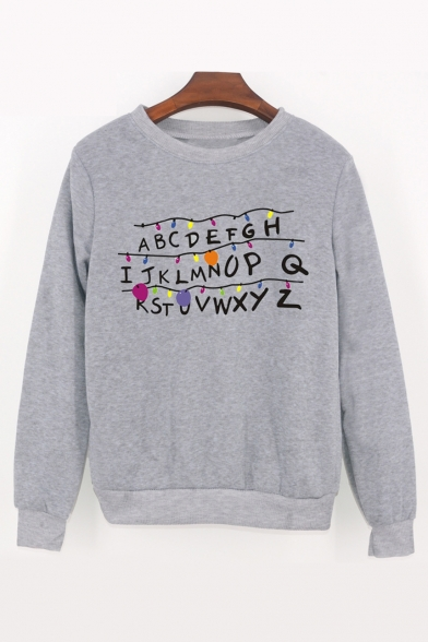 Letter ABCD Sweatshirt Neck Long Printed Sleeve Round Bulb dwq6Fg