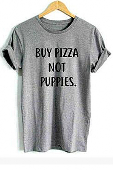 Printed Sleeve Round Tee Neck PIZZA Letter BUY Short wnfpv