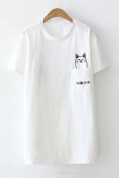 Neck Chinese Tee Embroidered Sleeve Cat Round Short Printed Pocket 8T7TxrwdXq