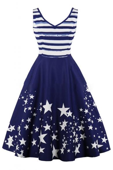 Color Block Striped Star Printed V Neck Sleeveless Midi A-Line Dress