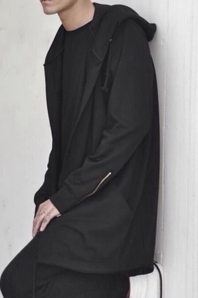 Cool Hooded Long Coat Sleeve Up Zip Tunic TqxTv6w