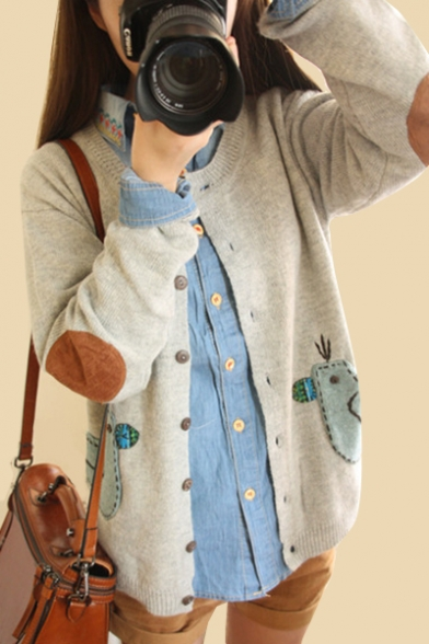 Pattern Sleeve Buttons Down Animal Round Applique Long Neck Cute Cardigan g5wqZ