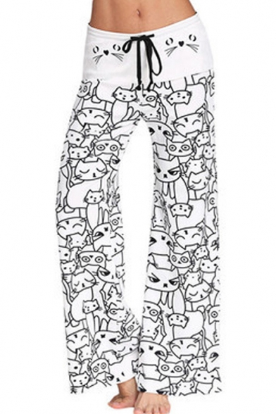 Купить со скидкой Drawstring Waist Cartoon Cat Printed Loose Pants