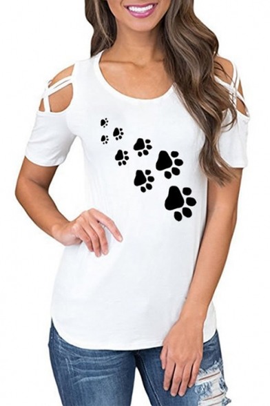 Round Hollow Tee Paw Sleeve Short Leisure Neck Printed Out HHxRwqgC