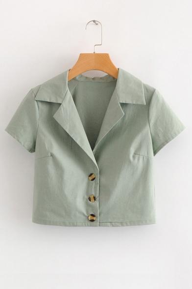 Notched Lapel Collar Short Sleeve Buttons Down Plain Crop Shirt