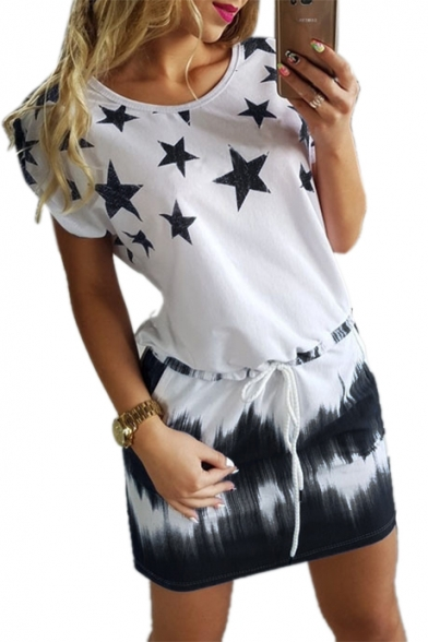 Ombre Star Printed Round Neck Short Sleeve Mini A-Line Dress LC473733 фото