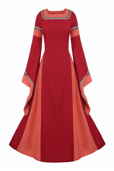 Retro Color Block Square Neck Long Sleeve Lace Up Back Maxi A-Line Dress