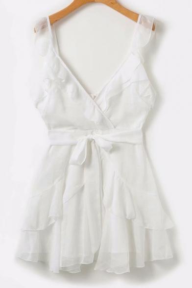 Ruffle Detail V Neck Sleeveless Plain Tied Waist Mini A-Line Dress