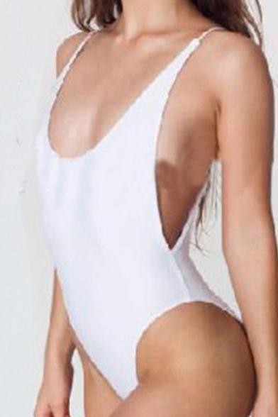Sexy Plain Open Back Spaghetti Straps Sleeveless One Piece Swimwear