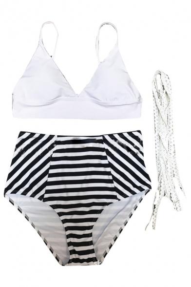 Spaghetti Straps Sleeveless Bralet Top with Striped High Waist Bottom Bikini