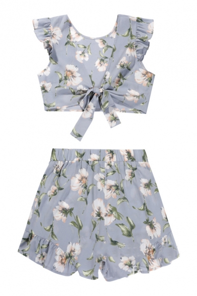 V Neck Bow Tied Front Sleeveless Floral Printed Crop Top with Elastic Waist Loose Shorts Co-ords