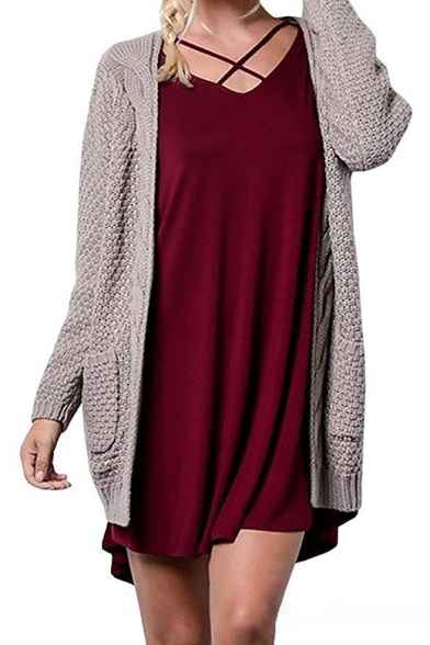 Cardigan Tunic Long Sleeve Cable Plain Collarless Knit wq7x7gYaz