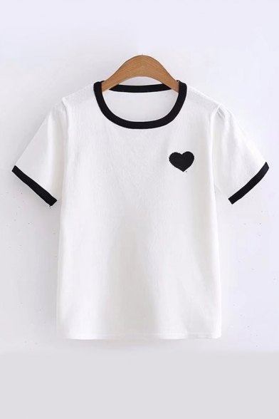 Round Contrast Neck Knit Short Trim Printed Heart Sleeve Tee 77Pxf