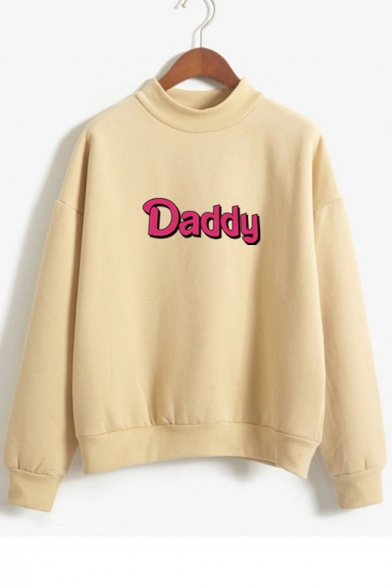 High Sleeve DADDY Letter Neck Sweatshirt Printed Long 0wxfBPq