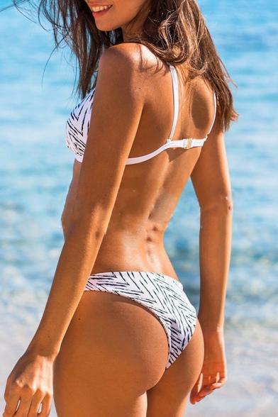 Digital Striped Printed Spaghetti Straps Bikini