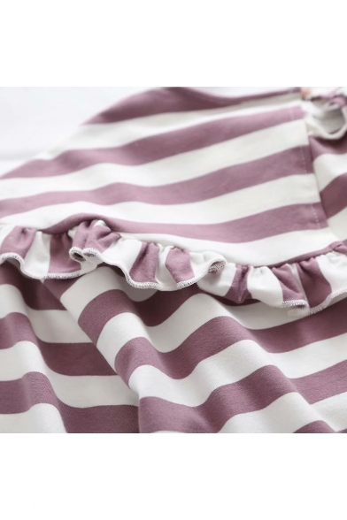 Leisure Sleeve Tee Doll Striped Short Collar Printed qPPvIXw