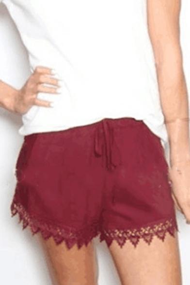 Drawstring Waist Lace Insert Leisure Loose Shorts