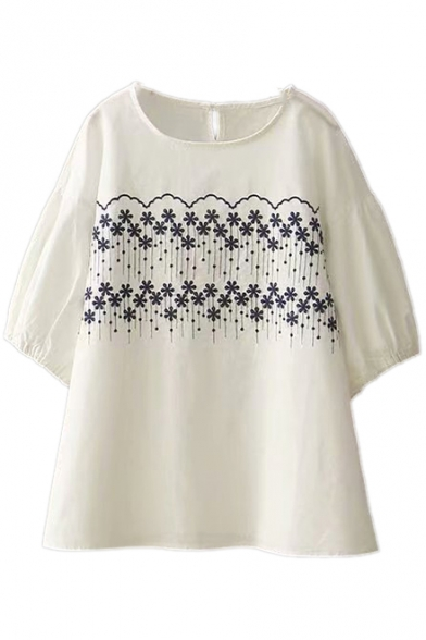 Round Linen Short Floral Sleeve Embroidered Tee Neck 5wnHZXHPq