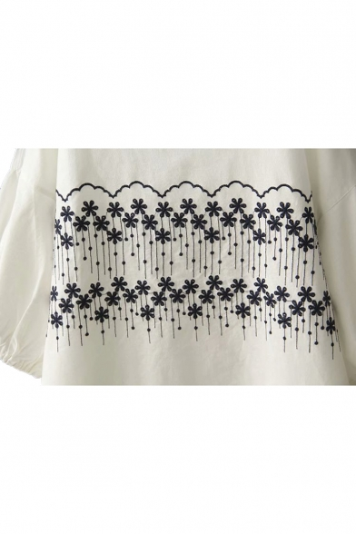 Floral Short Embroidered Round Neck Sleeve Linen Tee wqT6vxwg