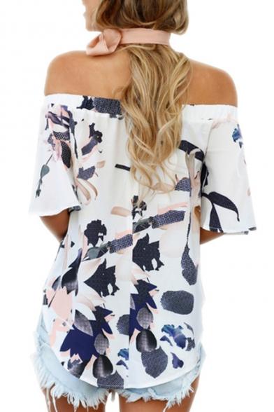 Floral Short The Sleeve Printed Off Blouse Shoulder 7Bv7q