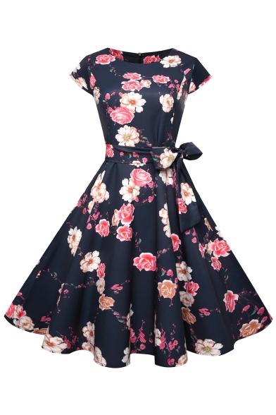 Floral A Dress Printed Line Tied Midi Round Bow Sleeve Short Neck Waist 44nrwqPz