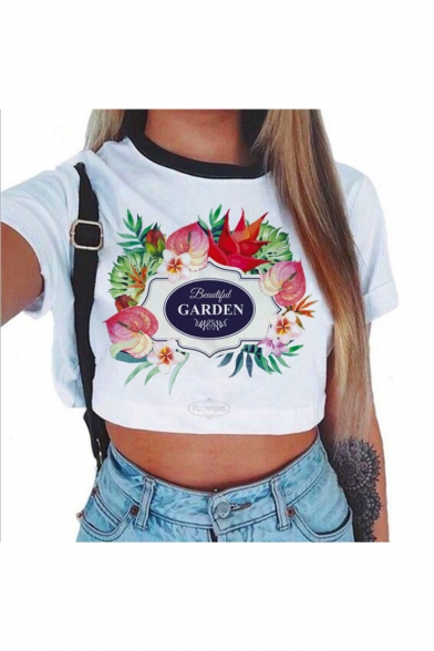 Crop Short Floral Letter Neck Tee Sleeve GARDEN Round Contrast Printed 8YdwxP