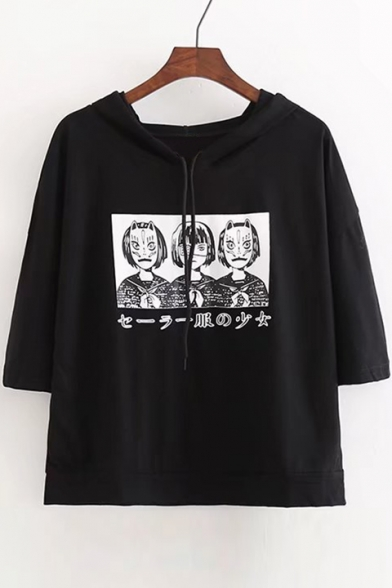 Printed Neck Hooded Sleeve Tee Short Japanese Round Character PZx5tqnw8