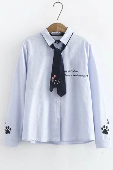 Buttons Lapel Down Tie Letter Striped Long with Sleeve Embroidered Collar Shirt 5XYwqUT