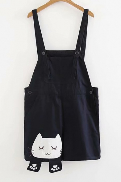 Lovely Cat Embroidered Straps Sleeveless Overall Romper