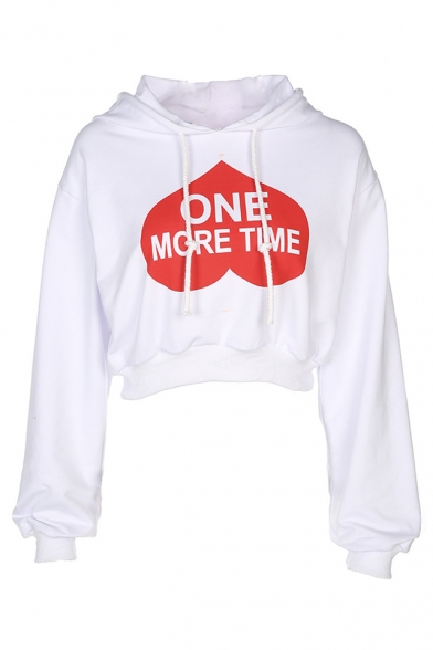 Hoodie Crop Sleeve Long TIME Heart ONE MORE Printed wO0ffY