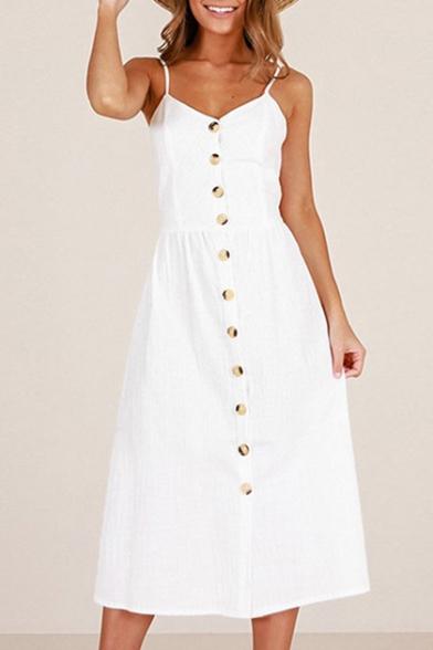 13e61ac5a Plain Buttons Down Spaghetti Straps Sleeveless Maxi A-Line Dress -  Beautifulhalo.com