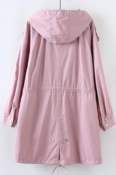 Plain Long Sleeve Zip Up Tunic Hooded Coat