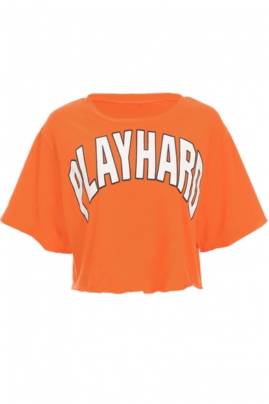 Crop Letter PLAY Tee Short Round HARD Neck Printed Sleeve 5xw0nx