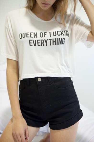 Short Round Letter OF Crop QUEEN Printed Sleeve Neck Tee BfX4x