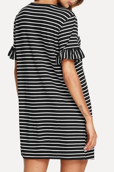 Round Ruffle Dress Neck Loose Sleeve Shirt Short T Detail Mini 55qxBr4