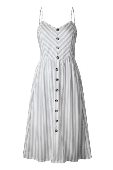 Straps Down line Printed Striped Sleeveless Spaghetti Maxi A Buttons Dress qPHXECZwXx