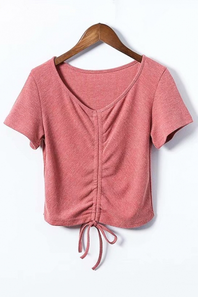 Crop Tee Short Plain Hem Sleeve V Neck Drawstring Y8wqA67x