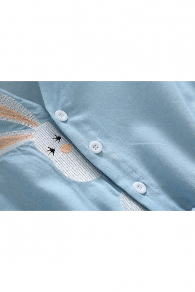 V Neck Short Sleeve Rabbit Embroidered Drawstring Waist Midi A-Line Dress